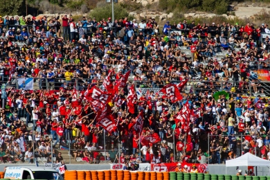 Marc Marquez fans during the Moto GP Grand Prix Generali Comunitat Valenciana qualifying session at Circuit de la Comunitat Valenciana Ricardo Tormo on November 9, 2013 in Valencia, Spain. (Photo by GinŽs Romero/Madrid Photosport)